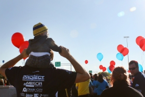 Owen had the best view at the 2014 Steps to Independence Walk.