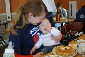 Owen trying pancakes for the first time.