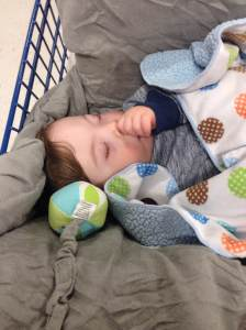 I can sleep just about anywhere. I decided the grocery store is a good a place as any to grab a few z's.